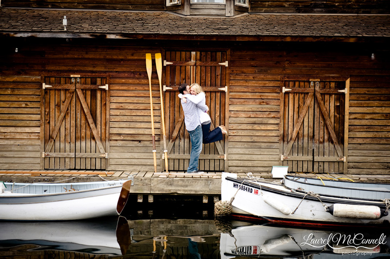 engagement photos at the center for wooden boats in seattle