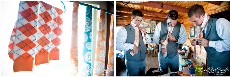 Groomsmen trying to tie orange ties with detail of argyle socks.