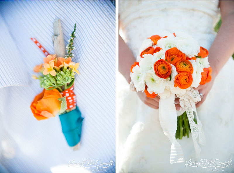 DIY floral and driftwood boutonniere with beautiful orange and white bouquet.