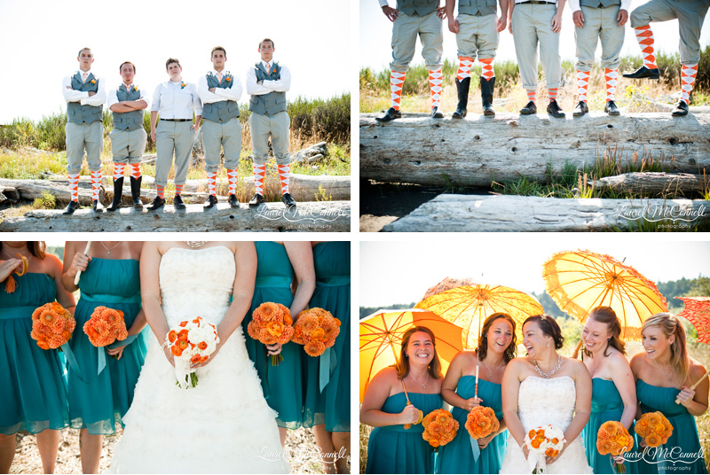 Groomsmen in grey with orange argyle socks and bridesmaids in teal with orange flowers and parasols.