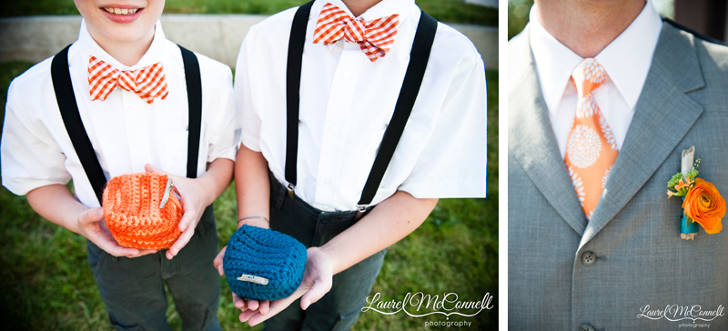 Ringbearers in orange checked bow ties with crocheted ring nests and groomsman with handmade boutonniere.