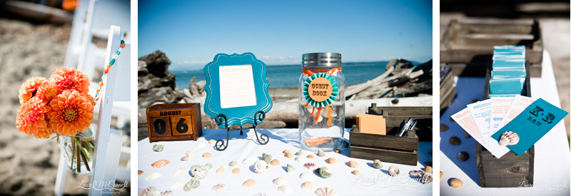 Orange and turquoise beach wedding details among seashells.