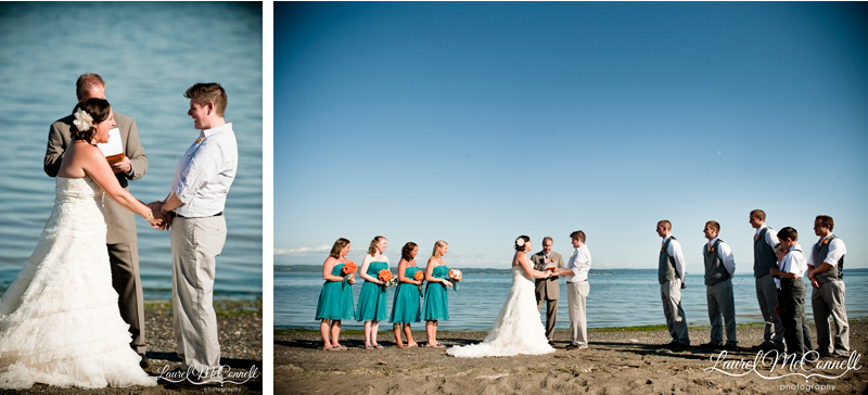 Laughing brides in a sandy Pacific Northwest beach wedding.