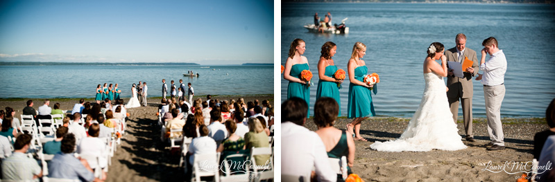 Camano Island, Washington beach wedding gets emotional.
