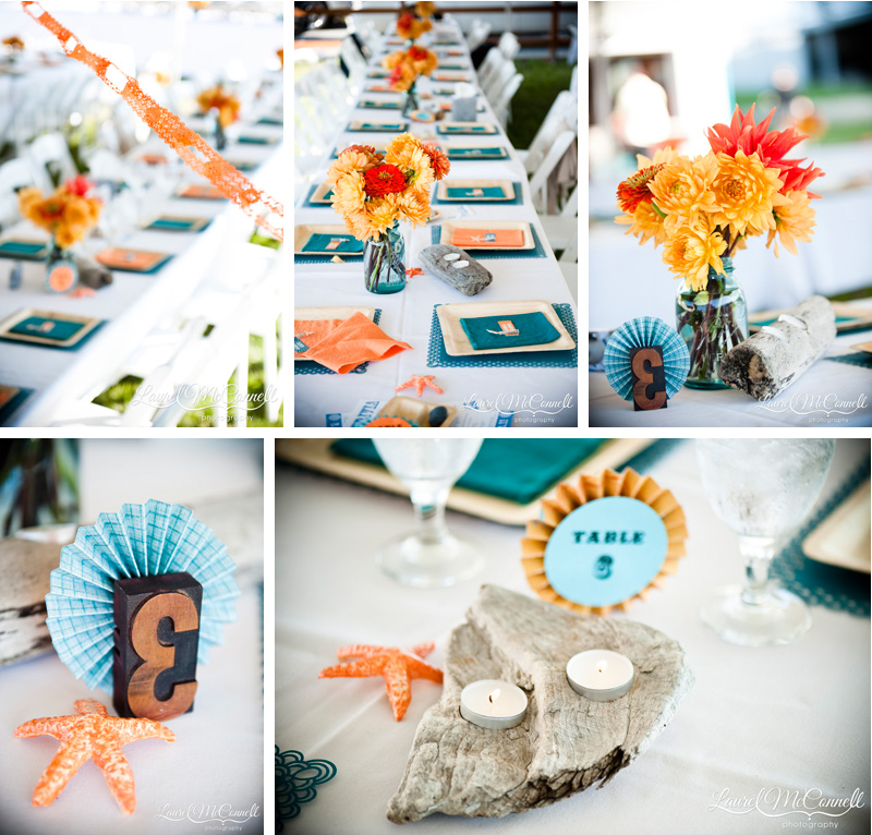 Amazing handmade, diy, orange, and turquoise table details and decorations.