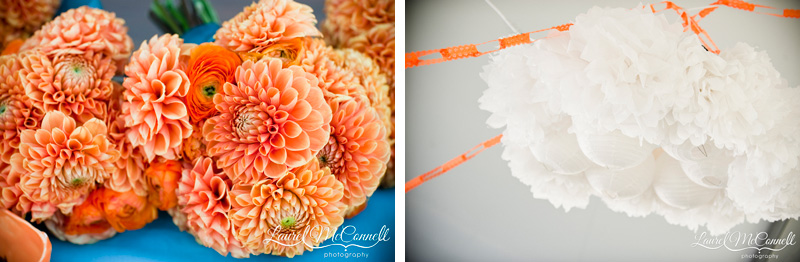 Orange dahlia and ranunculus bridesmaid bouquets paired a white paper lantern diy chandelier.