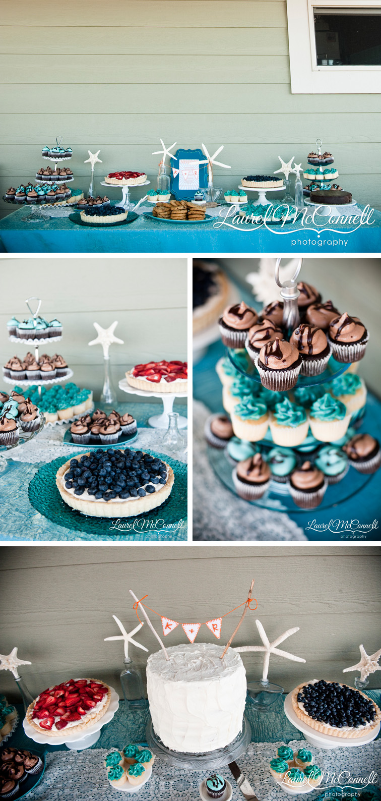 Beach house dessert table with pennant cake topper.