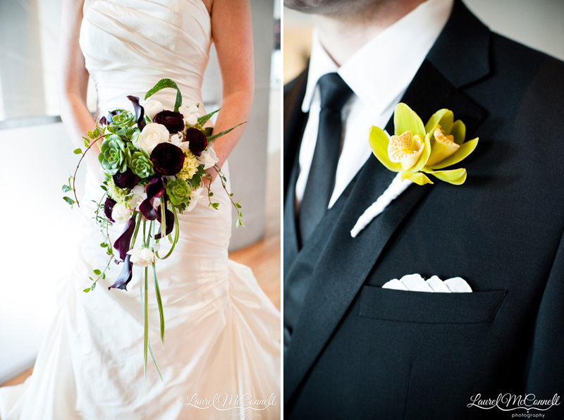 Green, purple, and white bouquet and yellow and green boutonniere details.