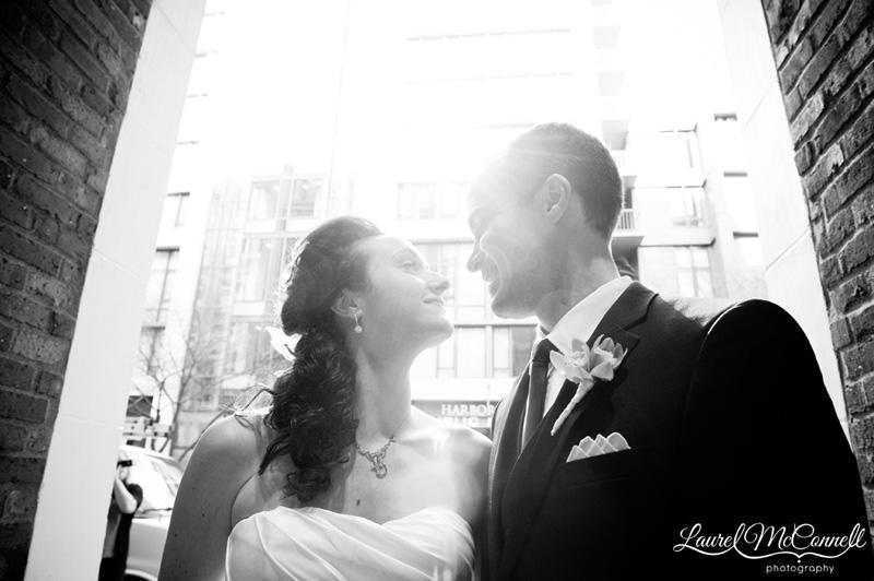 Beautiful black and white modern wedding portrait.