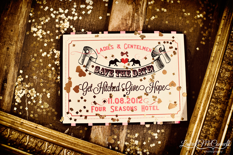Get Hitched Give Hope vintage carnival style Save the Date.