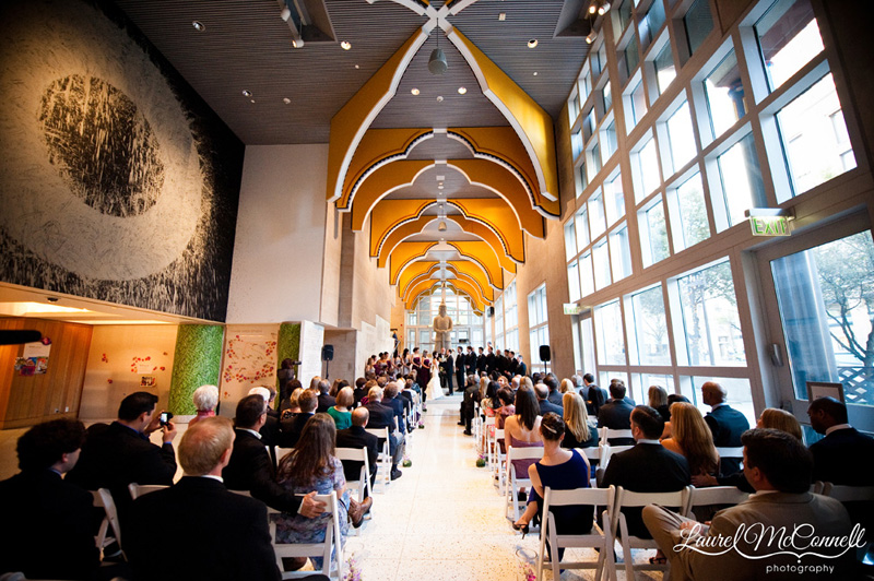 Overall shot of wedding inside the Seattle Art Museum.