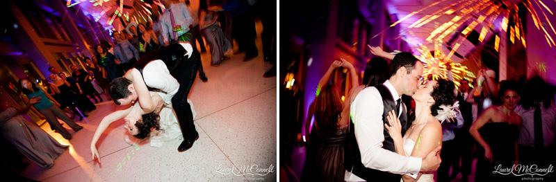 Bride and groom enjoying their reception.