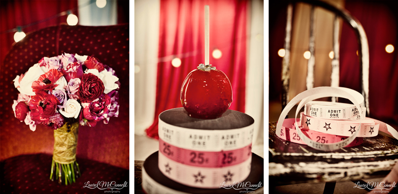 Red, white, cream, and pink circus wedding inspiration.
