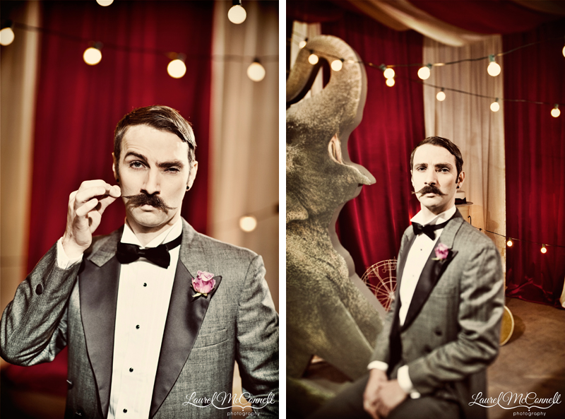 Unique groom as circus ring master portraits.