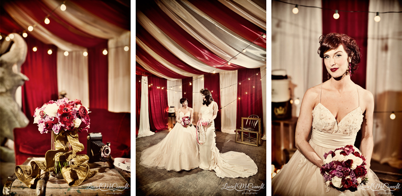 Classic brides in cream with unique red, white, and pink bouquet.