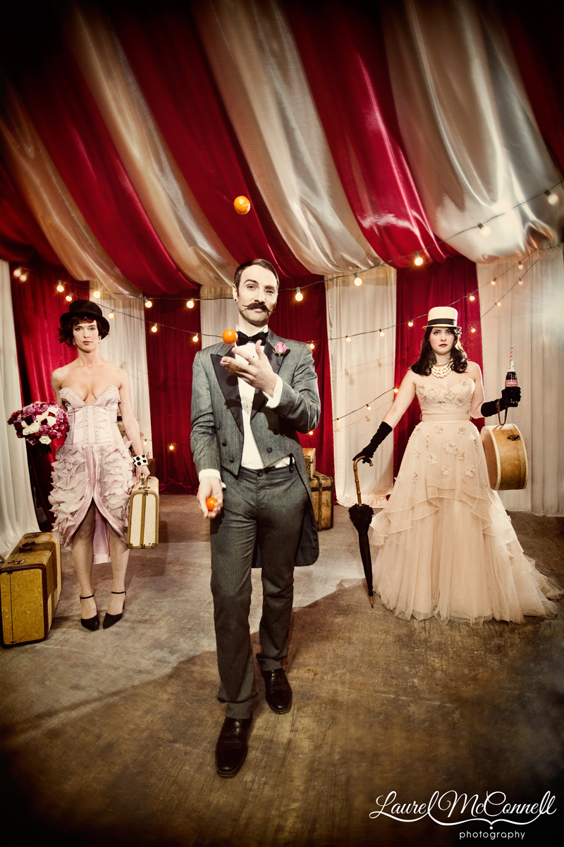 Traveling circus with an orange-juggling master of ceremonies.