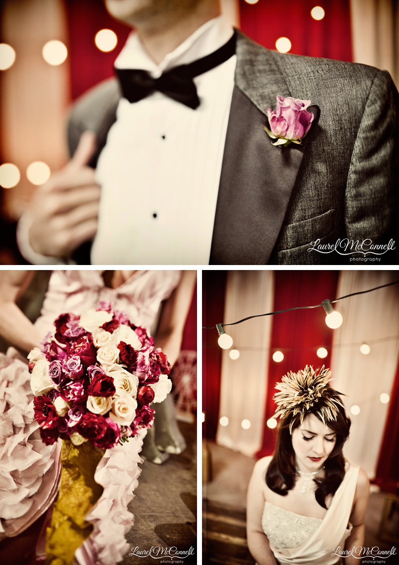 Red, white, cream, and gold vintage circus wedding details.