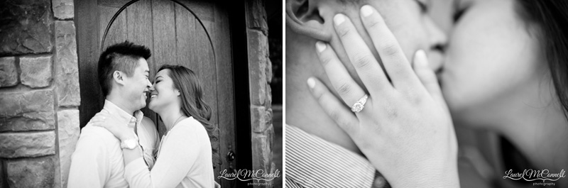 Detail of bride and groom at Washington winery in their pre-wedding session by Seattle Wedding Photographer.