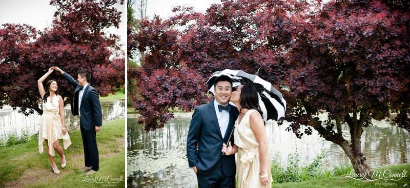 Engagement session in Seattle area winery with Bella Umbrella detail.