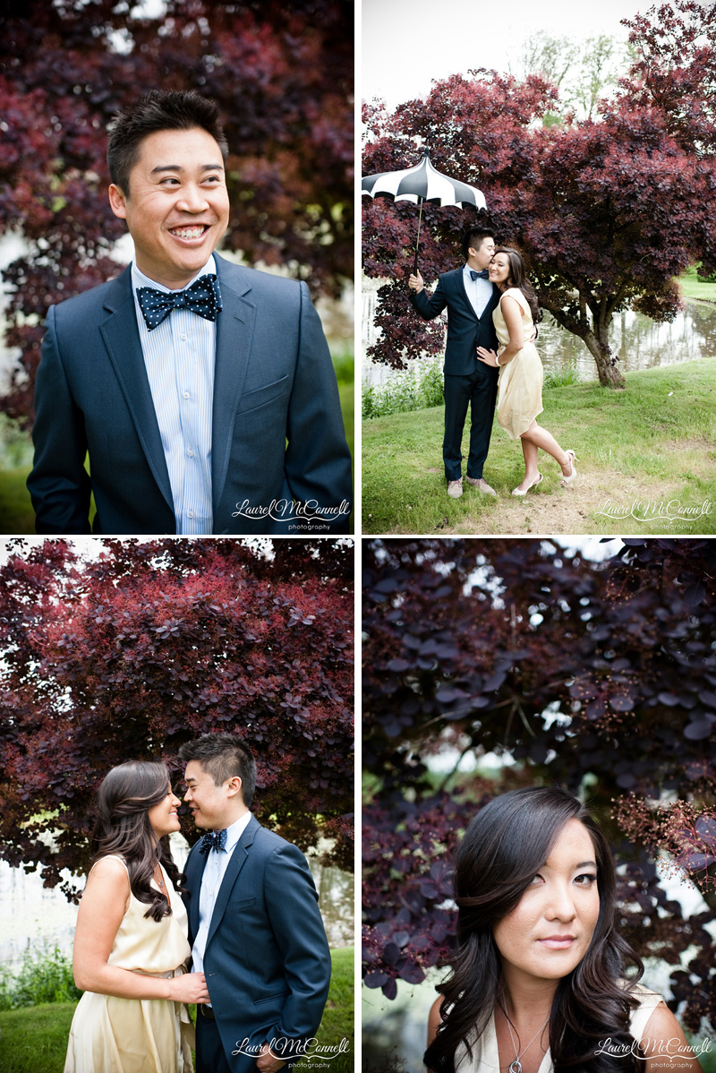 Sweet couple with Bella Umbrella during engagement session at winery.