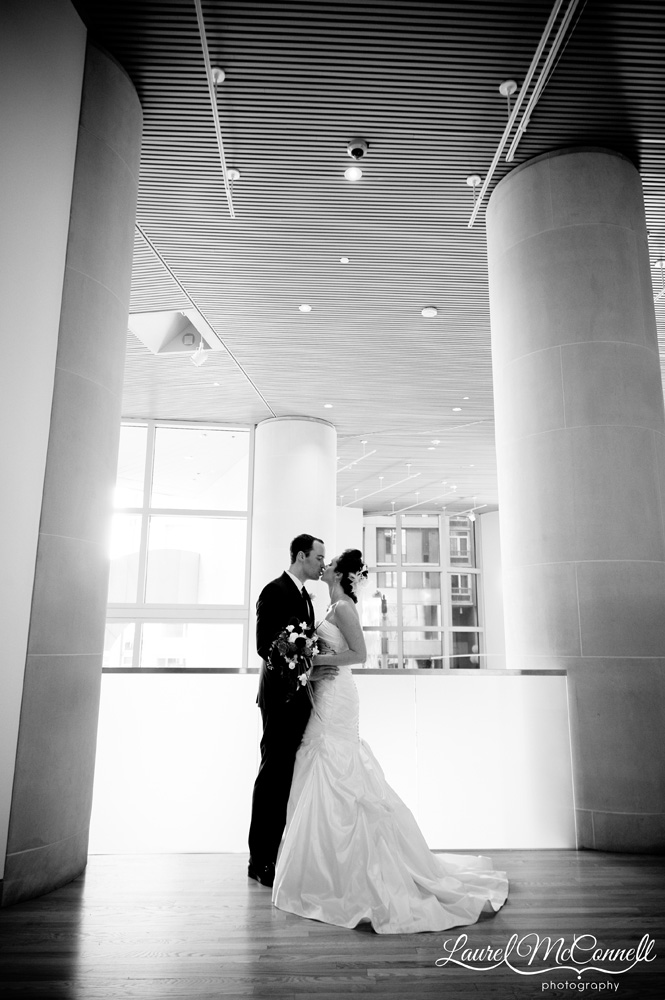 Seattle Art Museum wedding black and white portrait