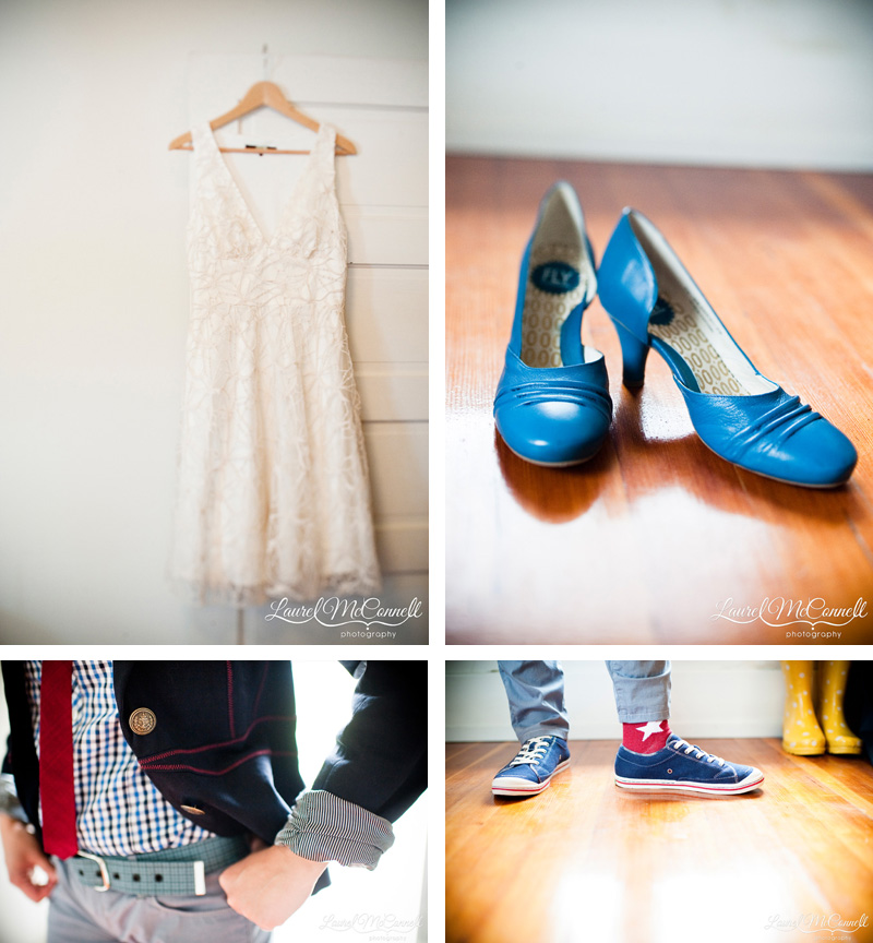 Details of blue wedding pumps and converse.