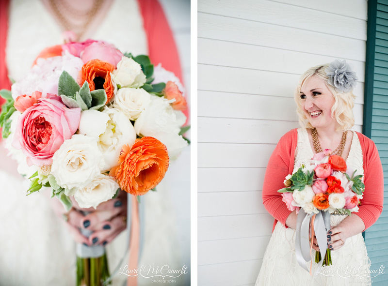 Lush pink, orange, and white bouquet with green details.