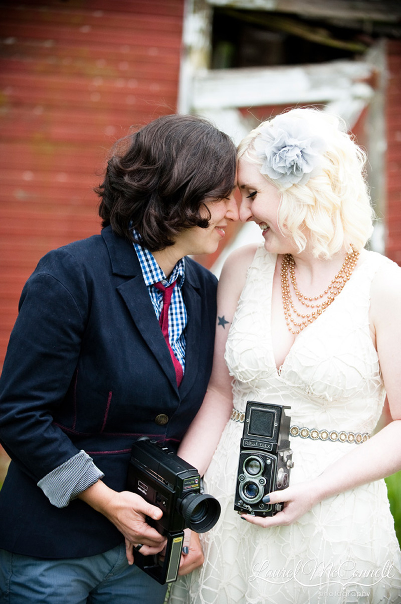 Sweet wedding portrait of lesbian brides.