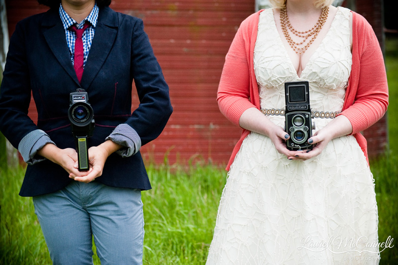 Vintage camera wedding detail.