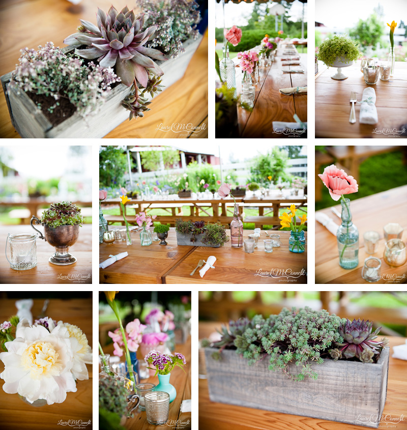 Adorable, minimalist, woodland wedding table decor.