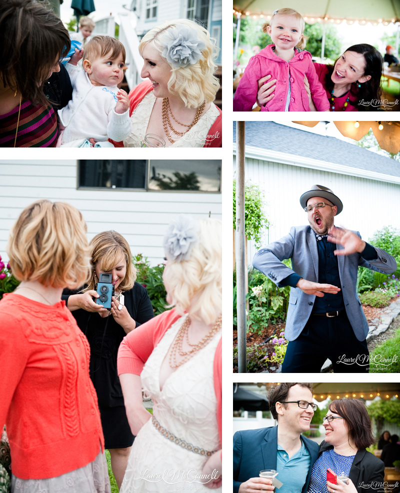 Candid portraits of guests at wedding reception.