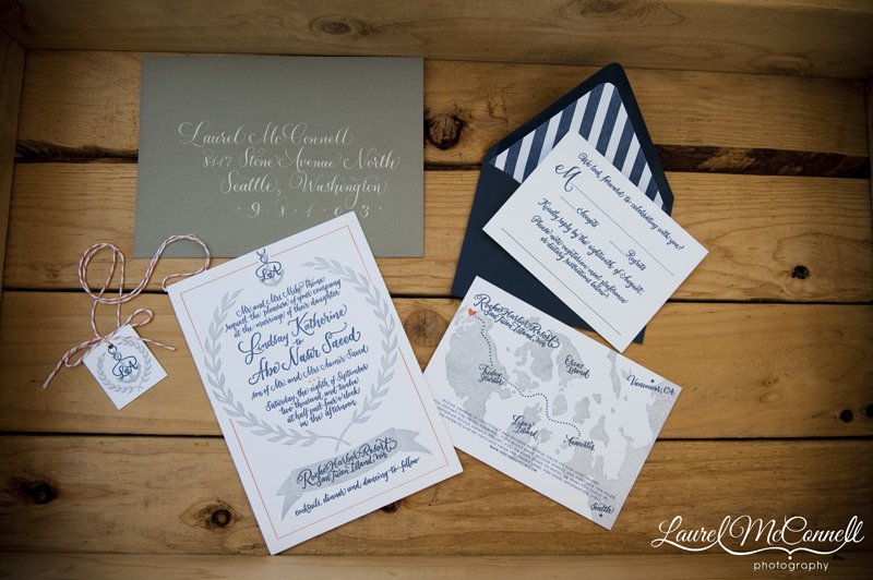 letterpress invitaion suite in a nautical theme with a hand made map for a roche harbor wedding
