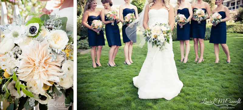 navy bridesmaid dresses behind wedding bouquets of dinner plate dahlias, eucalyptus, and anemones.