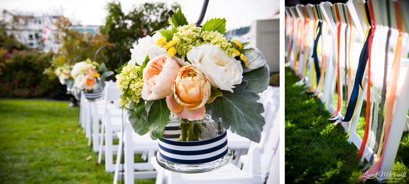 ceremony aisle decor for a garden wedding at roche harbor- navy stripes and peaches and yellow flowers amond ribbons on chairs