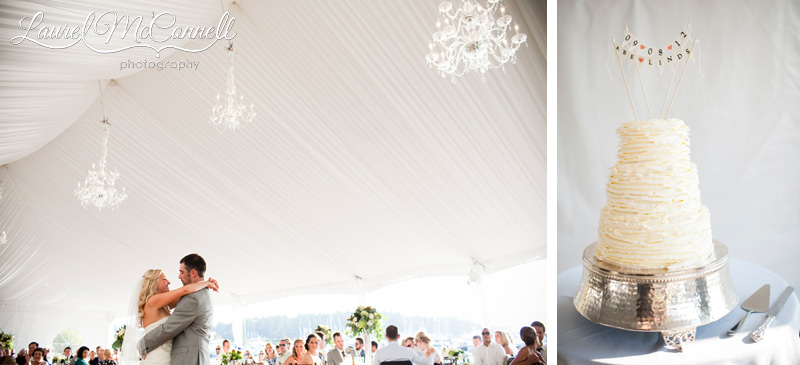 a couples first dance at roche harbor wedding under the white reception tent with chandeliers, paired with a white wedding cake with pennant topper