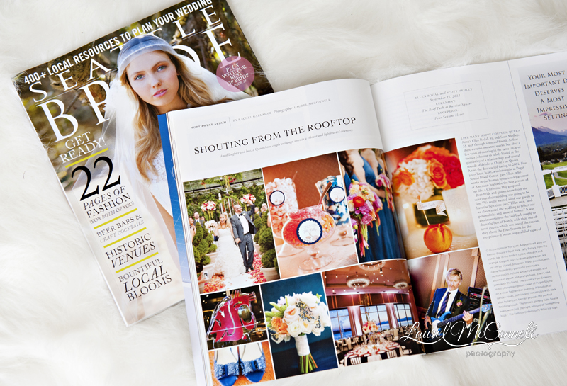 Four Seasons wedding feature in Seattle Bride Magazine photographed by Laurel McConnell.