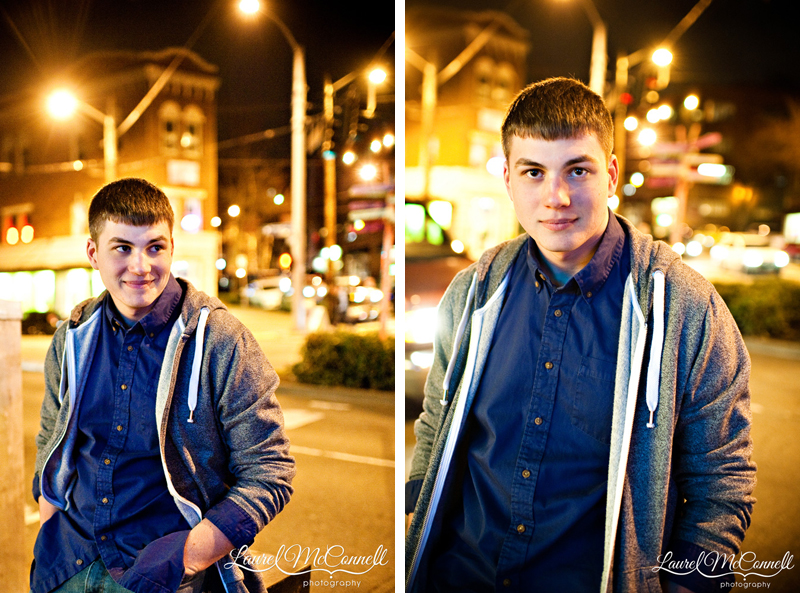 Senior session in Seattle Fremont neighborhood at night by photographer Laurel McConnell.