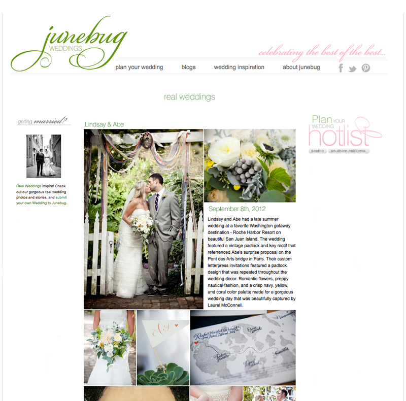 Seattle Wedding Photographer Laurel McConnell feature on Junebug Weddings blog.