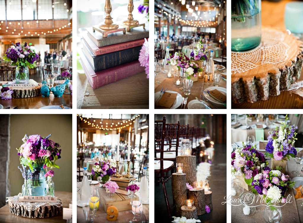 Vintage market collection decor for Sodo Park wedding by Seattle Photographer Laurel McConnell.