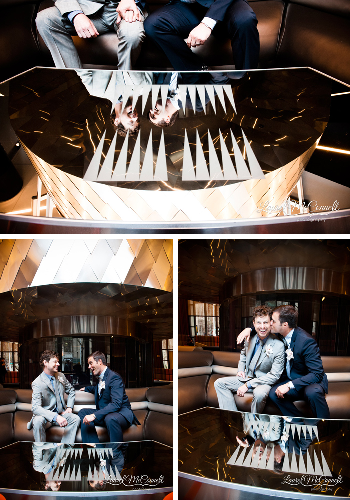 Couple celebrates their wedding and marriage equality at the Seattle, Washington W Hotel, by wedding photographer Laurel McConnell.