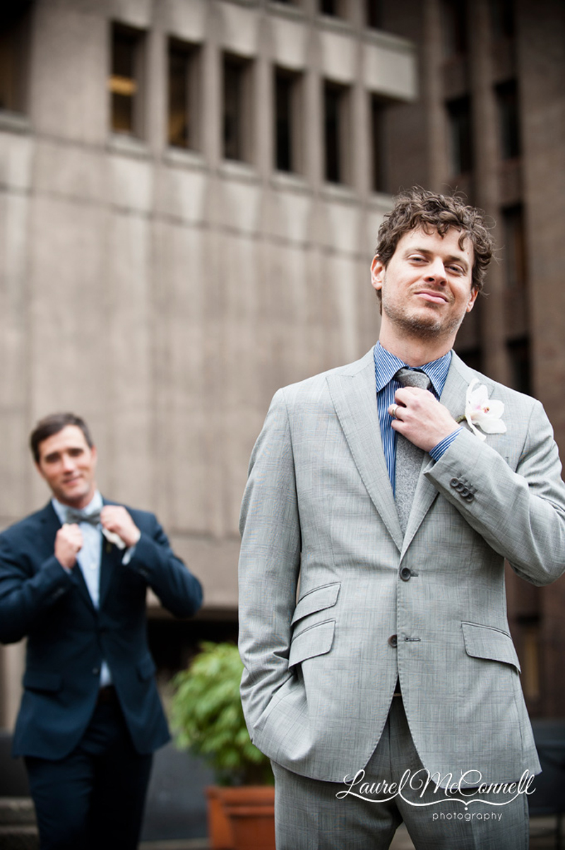 Rad same sex groom portrait in downtown Seattle by wedding photographer Laurel McConnell.