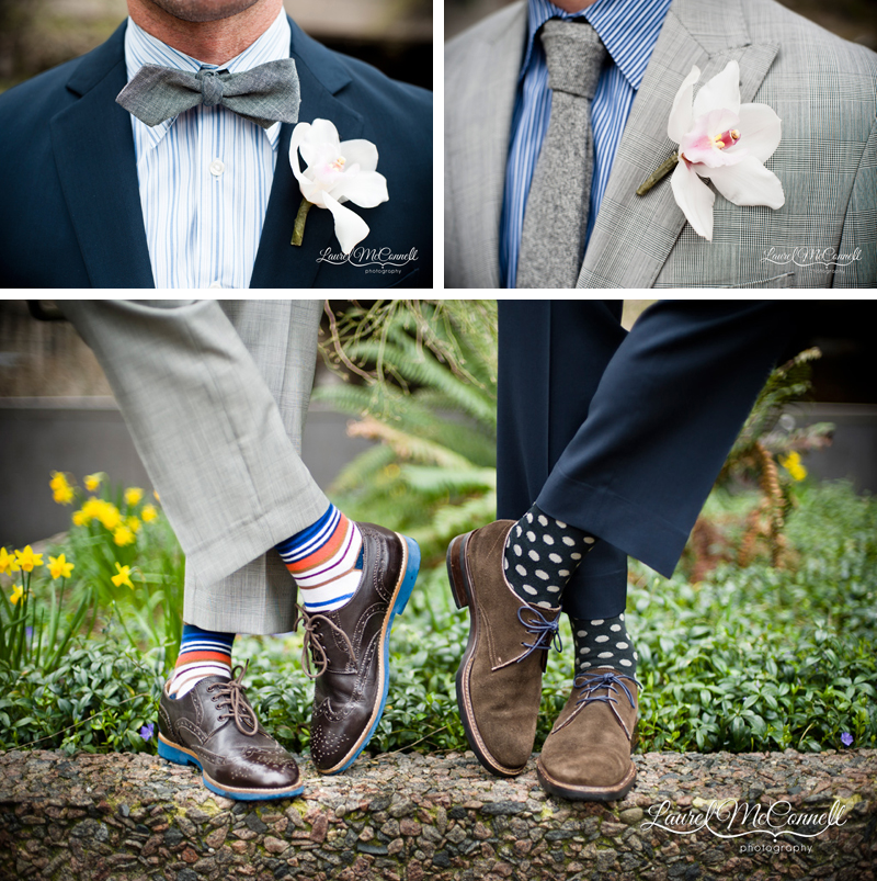 Boutonnieres and awesome socks as details for gay grooms by Seattle wedding photographer Laurel McConnell.
