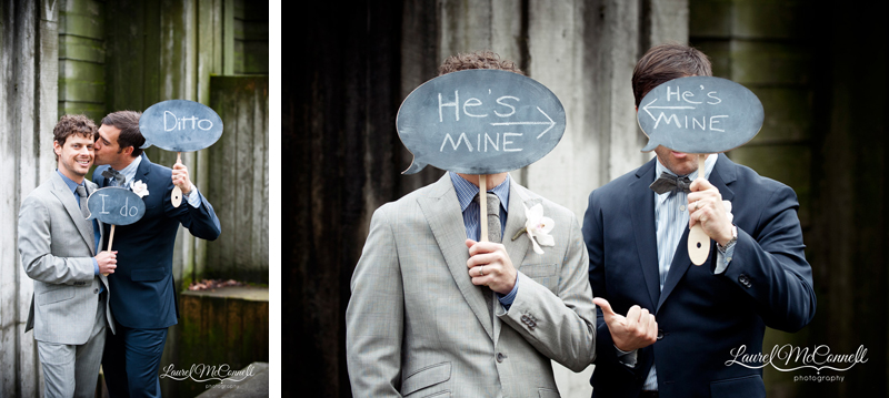 Unique wedding portrait of grooms with chalk boards by Seattle photographer Laurel McConnell.