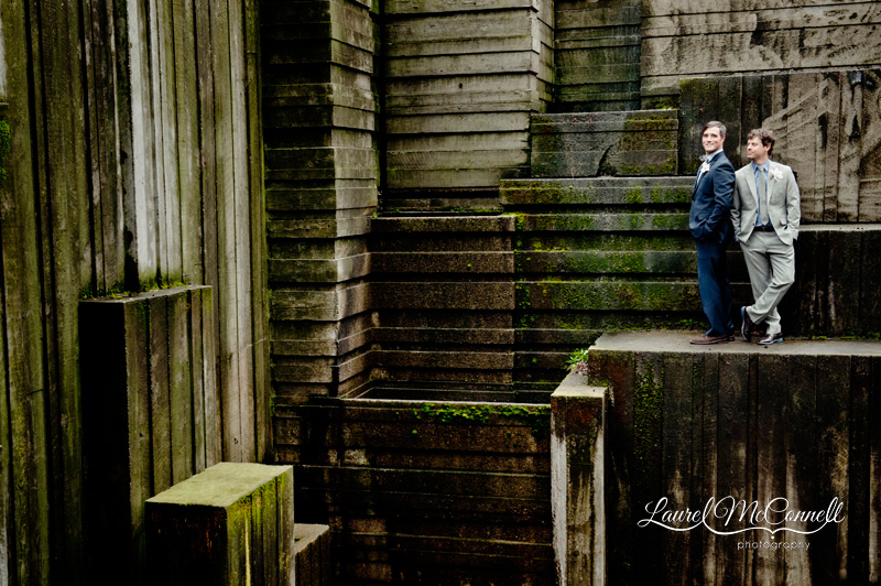 Amazing wedding portrait of grooms at Freeway Park by Seattle photographer Laurel McConnell.