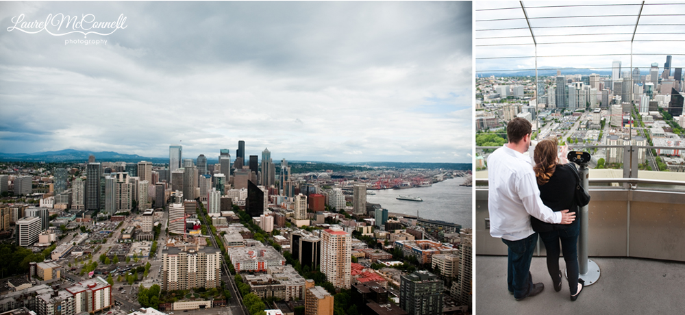 view from atop the seattle space needle and the guy who is about to propose!