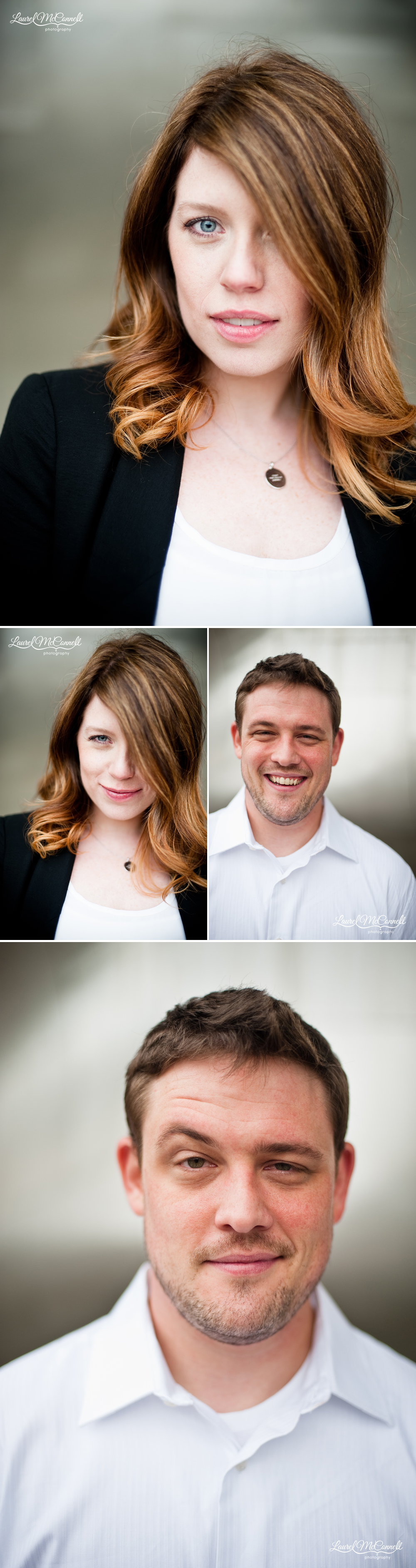 fun head shot portraits of the newly engaged happy couple