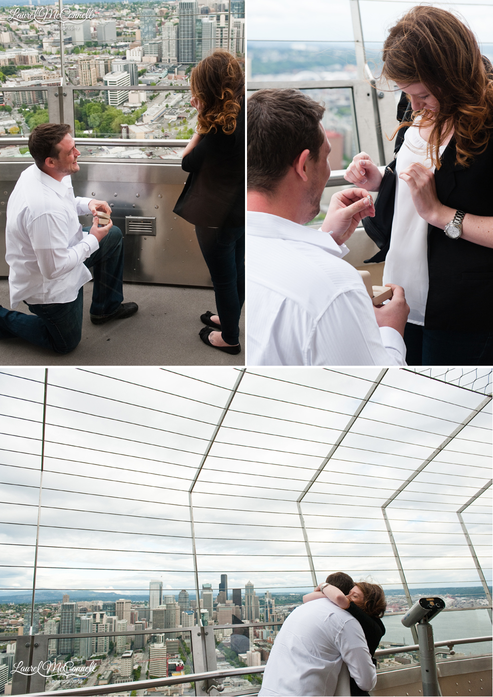 he gets down to propose on one knee on the observation deck at the seattle space needle