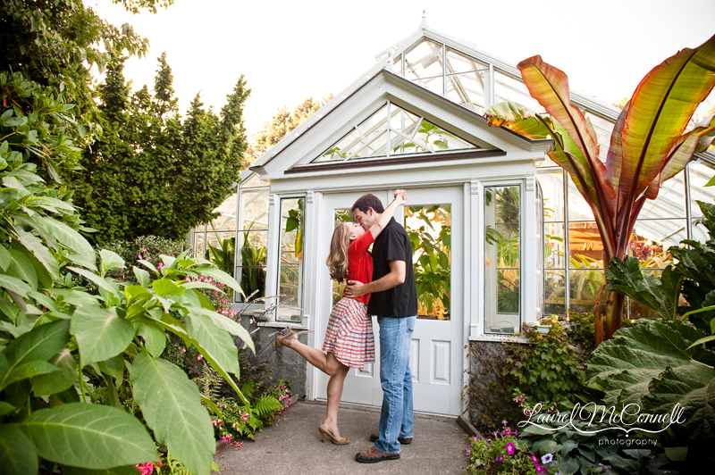 Sunny, fun, fall engagement session in Seattle's Volunteer Park Conservatory by Seattle wedding photographer Laurel McConnell.