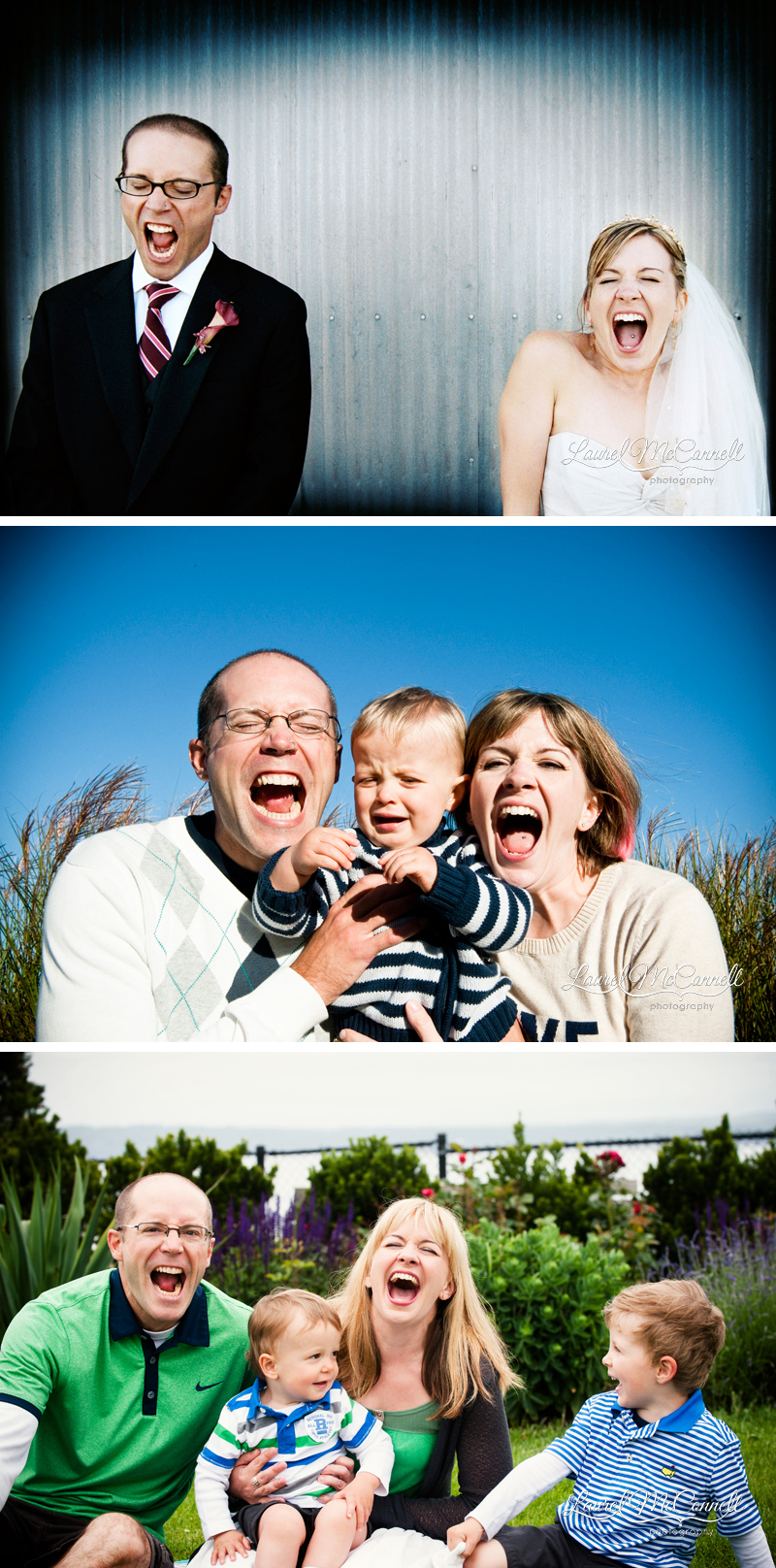 Trio of images of couple from their wedding through having children photographed in Seattle, Washington by Laurel McConnell Photography.