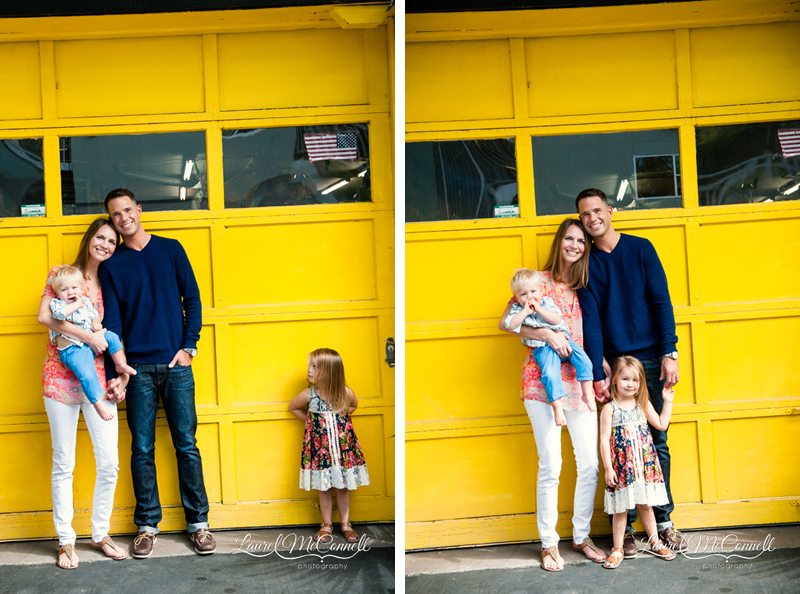 Beautiful family, including an unimpressed little girl, with yellow garage door photographed by Laurel McConnell Photography.